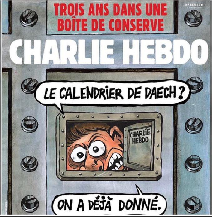 Cover majalah satir Charlie Hebdo terbitan pertama tahun 2018.