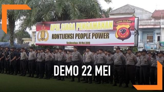 Jajaran TNI-Polri di Tasikmalaya Jawa Barat bersiaga menjelang rencana aksi 22 Mei. Pasukan pengamanan akan melakukan patroli besar-besaran dan razia di sejumlah titik.