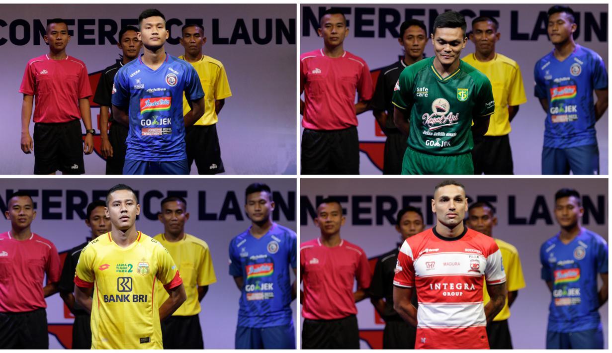 Berikut ini deretan jersey 18 klub peserta Shopee Liga 1 Indonesia 2019. (Bola.com/Vitalis Yogi Trisna)