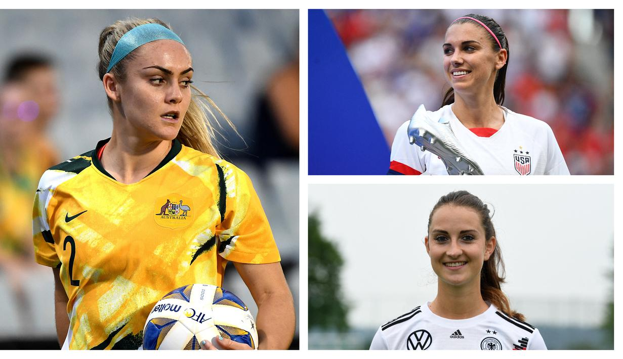 Piala Dunia Wanita FIFA 2019 telah dihelat dua tahun lalu di Prancis dengan Amerika Serikat tampil sebagai kampiun. Turnamen tersebut tentu saja telah meninggalkan kesan tersendiri, seperti paras cantik para pelakonnya. Berikut 7 di antaranya. (Kolase Foto AFP)