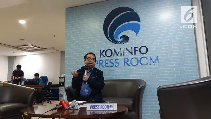 Plt Kepala Biro Humas Kemkominfo Ferdinandus Setu menjelaskan mengenai penangguhan tiga konten YouTube milik Kimi Hime di Jakarta, Rabu (24/7/2019).