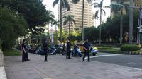 Pengamanan diperketat jelang perayaan Hari Kemerdekaan Taiwan ke-108. (Liputan6.com/Teddy Tri Setio Berty)