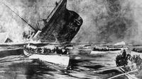 Ilustrasi tenggelamnya Titanic di Samudra Atlantik. | via: telegraph.co.uk