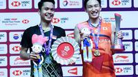 Tunggal putra Indonesia Anthony Sinisuka Ginting menjadi runner up usai dikalahkan Kento Momota dari Jepang pada final BWF World Tour Finals 2019 di Tianhe Gymnasium, Guangzou, Tiongkok, Minggu (15/12/2019). (foto: PBSI)