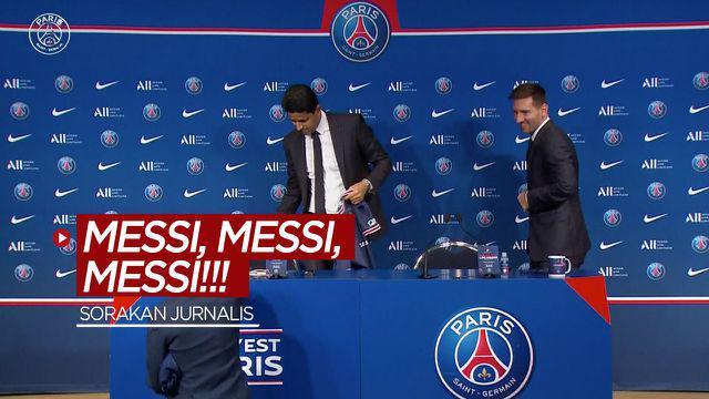 Berita video momen seorang jurnalis menyorakkan nama Lionel Messi saat acara konferensi pers perkenalan oleh klub barunya, PSG, Rabu (11/8/2021).