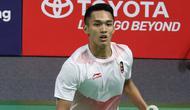 Jonatan Christie kembali menjadi andalan Indonesia saat menghadapi Tiongkok pada laga final cabang olahraga bulu tangkis beregu Asian Games 2019 di Istora Gelora Bung Karno, Rabu (22/8/2018). (Humas PP PBSI)