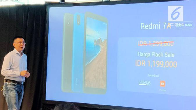 Country Head Xiaomi Indonesia, Steven Shi, saat mengumumkan Redmi 7A di Jakarta, Selasa (6/8/2019). (Liputan6.com/ Agustin Setyo Wardani)