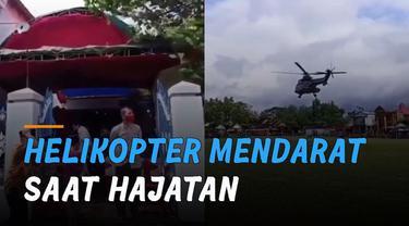 Beredar video helikopter mendarat saat hajatan sedang berlangsung.