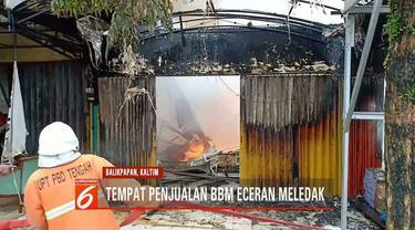 Tiga ruko hangus terbakar saat Hari Lebaran diduga karena salah satu kios penjualan BBM eceran meledak saat sedang pengisian ulang.
