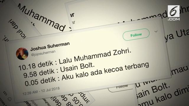Kencangnya lari Lalu Muhammad Zohri membuat warganet membuat cuitan lucu yang bikin ngakak.