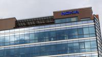 Logo Nokia di Kantor Nokia di Espoo, Finlandia. Kredit: Nokia