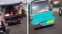 Kambing diangkut menggunakan sebuah minibus, sebaliknya manusia menaiki pikap. (Instagram @ceritadriveronline)