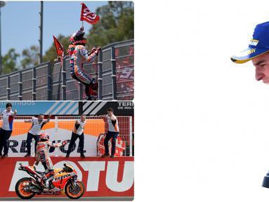 Marc Marquez pebalap Repsol Honda berusia 26 tahun pemilik 5 titel gelar juara Motogp yang berjulukan Semut Cervera dikenal memiliki selebrasi nyeleneh atau unik saat beraksi di lintasan. Seperti apa saja aksi pebalap Spanyol ini?