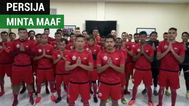 Berita video ucapan permintaan maaf pemain Persija Jakarta untuk suporter Persib Bandung.