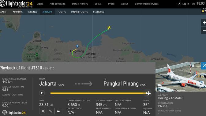Data penerbangan Boeing 737 MAX 8 dengan nomor registrasi PK-LQP yang dioperasikan Lion Air (Flightradar24)