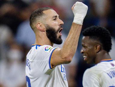 Real Madrid meraih hasil positif saat menjamu Celta Vigo pada pekan keempat La Liga di Stadion Santiago Bernabeu, Senin (13/9/2021). (Foto:AP/Manu Fernandez)