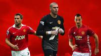 Manchester United - Michael Owen, Victor Valdes, Zlatan Ibrahimovic (Bola.com/Adreanus Titus)