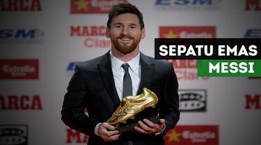Pemain Barcelona, Lionel Messi memberikan komentarnya setelah berhasil mendapatkan trofi sepatu emas Eropa 2017.