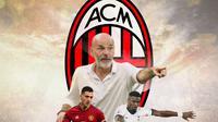 AC Milan - Diogo Dalot, Stefano Pioli, Serge Aurier (Bola.com/Adreanus Titus)