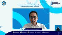 Kepala Badan Standar Kurikulum dan Asesmen Pendidikan, Kemendikbudristek, Anindito Aditomo saat Webinar Asesmen Nasional, Paradigma Baru Evaluasi Pendidikan Nasional, Kamis (2/9/2021).