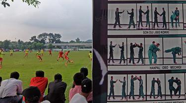 Bambang Pamungkas dan rekan-rekannya berlatih mematangkan strategi untuk mengarungi putaran kedua Torabika SC 2016 di Lapangan Yon Zikon TNI AD, Selasa (6/9/2016). (Bola.com/Nicklas Hanoatubun)