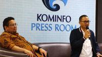 Komisioner Bawaslu, Rahmat Bagja dan Dirjen Aptika Kemkominfo, Semuel Abrijani Pangerapan. Liputan6.com/Andina Librianty