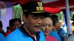 Wakil Gubernur DKI Jakarta, Djarot Syaiful Hidayat saat hadir mengikuti deklarasi Gerakan Wajib Lapor Bagi 100.000 pecandu narkoba  di Monas, Jakarta, Sabtu,(28/2/2015). (Liputan6.com/Faisal R Syam)