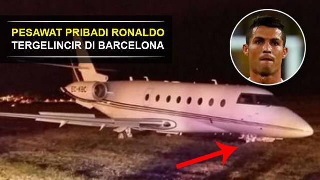 Video pesawat pribadi pemain andalan Real Madrid, Cristiano Ronaldo, tergelincir saat mendarat di Barcelona, Spanyol.