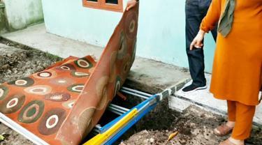 Lokasi wanita hamil terubur septic tank yang merupakan korban pembunuhan di Kabupaten Kampar.