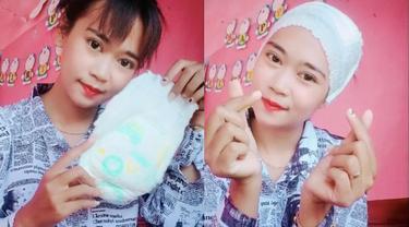 Viral Wanita Ini Gunakan Popok Sebagai Ciput Jilbab, Bikin Geleng Kepala