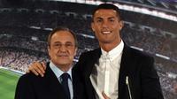 Cristiano Ronaldo (kanan) bersama Presiden Real Madrid, Florentino Perez (kiri). (GERARD JULIEN / AFP)