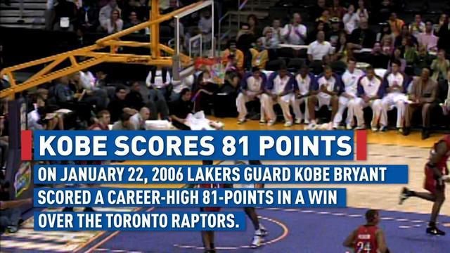 Berita video mengenang kehebatan Kobe Bryant shooting guard Los Angeles Lakers saat berhasil mencetak 81 poin dalam satu laga melawan Toronto Raptors.