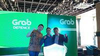 (ki-ka) Head of User Trust Grab Wui Ngiap Foo, Kepala Subdirektorat Penyidikan Kominfo Teguh Arifiadi, dan Presiden Grab Indonesia Ridzki Kramadibrata. (Liputan6.com/ Agustin S. Wardani)
