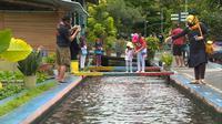 Saluran irigasi Bendung Lepen yang terletak di Kampung Mrican, Giwangan, Umbulharjo, Yogyakarta ini memiliki air yang bersih dan ratusan ikan di dalamnya. Turis pun tertarik untuk datang dan melihat saluran irigasi yang tak biasa ini. (Foto: Liputan6.com)