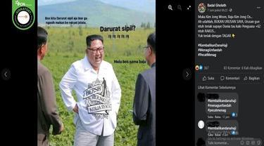 """Gambar Tangkapan Layar Foto yang Diklaim Kim Jong-un Pakai Kemeja Bertuliskan """"Bersih, Merakyat, Kerja Nyata"""" (sumber: Facebook)"""
