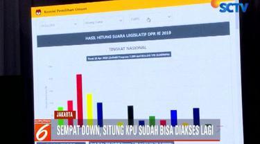 Menurut Komisioner KPU Ilham Saputra, meski sempat down hal tersebut sama sekali tidak mempengaruhi rekapitulasi surat suara karena perhitungan dilakukan secara manual.