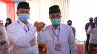 Bakal pasangan calon kepala daerah Sumbar Nasrul Abit-Indra Catri. (Liputan6.com/ Novia Harlina)