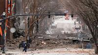 TKP ledakan di Nashvile, Tennessee, Amerika Serikat pada pagi Natal 25 Desember 2020 (Mark Humphrey / AP PHOTO)