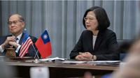 Presiden Taiwan Tsai Ing-Wen berbicara di sebuah forum di Washington DC, Amerika Serikat (AP Photo)