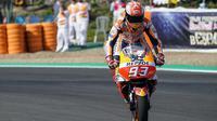 Pembalap Repsol Honda, Marc Marquez tampil sebagai yang tercepat pada FP3 MotoGP Spanyol 2018. (Twitter/HRC_MotoGP)