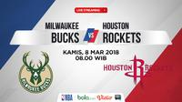Jadwal NBA, Milwaukee Bucks Vs Houston Rockets. (Bola.com/Dody Iryawan)