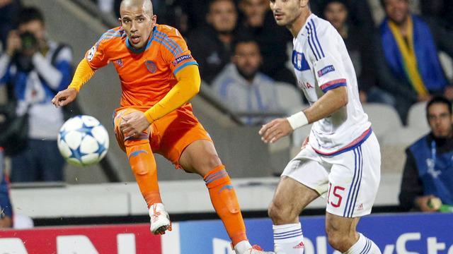 Sofiane Feghouli pemain sayap Valencia asal Aljazair mencetak gol indah yang membuat Valencia menang atas Lyon 1-0 di Liga Champions, Selasa (29/9/2015).