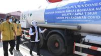Pengiriman bantuan 9,9 ton oksigen medis kepada Pemerintah Provinsi (Pemprov) Jatim dari Satgas Tanggap Bencana Nasional BUMN
