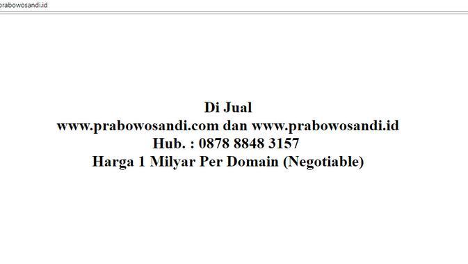 Website prabowosandi.id dijual di internet seharga Rp 1 miliar dan masih bisa dinego (Liputan6.com/ Agustin Setyo W)