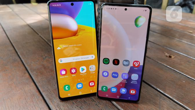 Tampak Depan Galaxy A71 dan Galaxy A51. (Liputan6.com/ Agustinus Mario Damar)