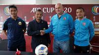 Sesi konferensi pers jelang duel PSM vs Shan United di Grup H Piala AFC 2020 (25/2/2020). (Bola.com/Abdi Satria)