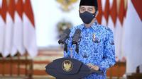 Presiden Jokowi memberikan sambutan dalam acara HUT ke-49 Korpri. (Istimewa)