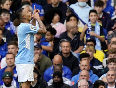 Foto: Gabriel Jesus Jadi Pahlawan, Manchester City Pecundangi Chelsea di Liga Inggris
