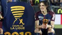 Cara Edinson Cavani merayakan keberhasilan timnya meraih Coupe De La Ligue di Stade Matmut Atlantique, Bordeaux, Sabtu (31/3/2018) waktu setempat. Cavani mencetak dua gol untuk PSG. (AP/Thibault Camus)