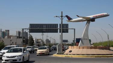 Dekat bandara Internasional Erbil di ibu kota wilayah otonomi Kurdi utara Irak.. (AFP)
